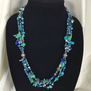 Sterling Silver Turquoise Mix Zuni Fetish Necklace